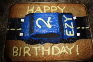Blue Race Car Cake