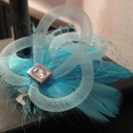 A turquoise feather hair clip