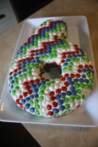 And here is the coolest every chevron smartie six cake!