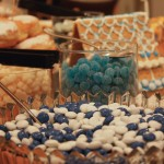 Blue and white candies adorn the table
