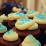 Even the cupcakes were decorated to match the blue and white theme